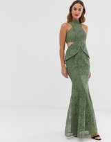 Asos Design DESIGN high neck lace maxi dress with cut outs and fishtail hem