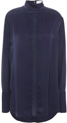 Victoria Victoria Beckham Paneled Satin And Mousseline Blouse