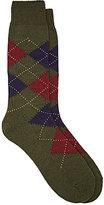 Barneys New York Men's Argyle Wool-Blend Mid-Calf Socks-DARK GREEN