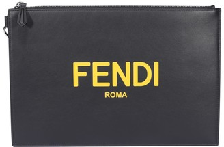 Fendi Roma Lettering Printed Flat Pouch