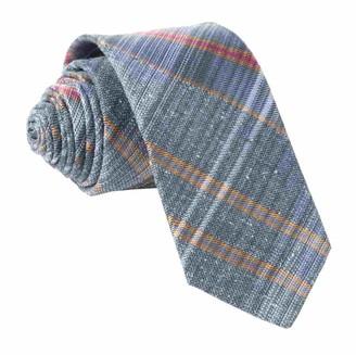 Tie Bar Misty Plaid Slate Blue Tie