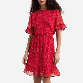 Tommy Jeans Flared Mini Dress in Paislely Print with Ruffled Short Sleeves