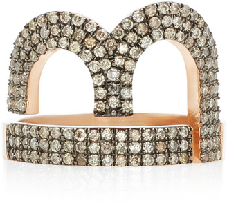 TULLIA Magic B 14K Rose Gold Diamond Initial Ring