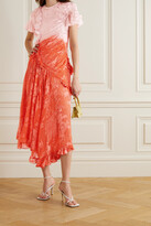 Thumbnail for your product : Preen by Thornton Bregazzi Etsu Asymmetric Ruffled Ombre Devore-satin Dress - Orange