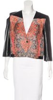 Helmut Lang Leather-Trimmed Jacquard Jacket w/ Tags
