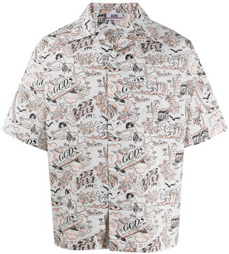 GCDS Graphic-Print Short-Sleeved Shirt