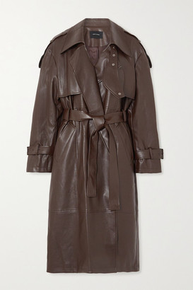 Low Classic Belted Faux Leather Trench Coat - Brown