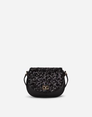Dolce & Gabbana Lambskin Crossbody Bag With Sequin Details