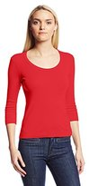 Three Dots Women's 3/4 Sleeve Scoop Neck Tee