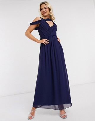 Little Mistress drape maxi dress in navy