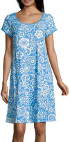 Miss Elaine By Short Sleeve Round Neck Floral Nightgown