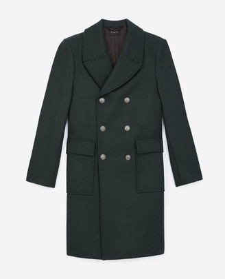 The Kooples Double-breasted bottle green coat in wool