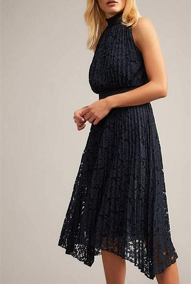 Witchery Pleated Lace Dress