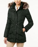 London Fog Petite Faux-Fur-Trim Hooded Down Puffer Coat