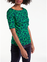 Boden Fleur Fitted Top, Highland Green/Shadow Floral