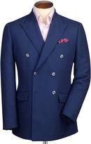 Slim Fit Royal Blue Double Breasted Birdseye Wool Wool Jacket Size 36