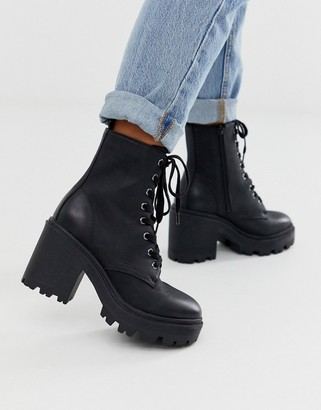 New Look leather look heeled biker boots in black