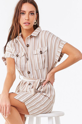 Forever 21 Striped Button-Front Shirt Dress