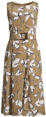 Lafayette 148 New York Gracie Belted Floral Silk Dress
