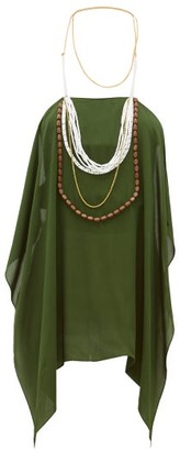 Jacquemus Bijoux Beaded Halterneck Chiffon Top - Green