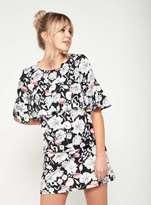 Miss Selfridge Floral print ruffle t-shirt