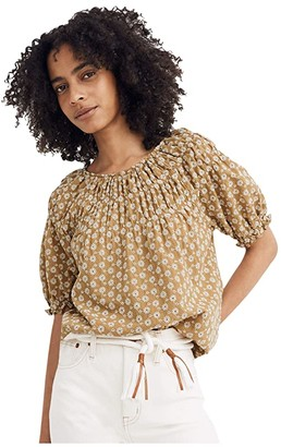 Madewell Daisy Embroidered Shirred Puff-Sleeve Top (Olive Surplus Two-Tone Daisy Eyelet) Women's Clothing