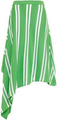 MM6 MAISON MARGIELA Asymmetric Striped Stretch-knit Midi Skirt