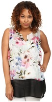 DKNY Misty Rose Print and Color Block Tank Top
