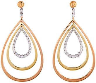 Damiani Certified 18K Tri-Tone 1.09 Ct. Tw. Diamond Drop Earrings