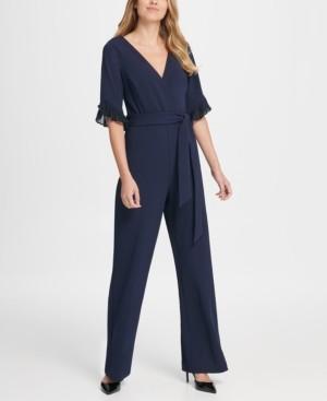 DKNY Chiffon Pleat Detail Sleeve V-Neck Jumpsuit