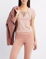 Charlotte Russe Lace-Up Skimmer Top