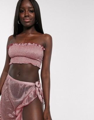 Anmol metallic detail two-piece with wrap around skirt and shirred bandeau top