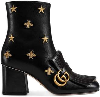 Gucci Embroidered leather mid-heel ankle boot