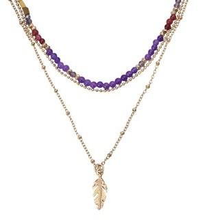 Aeravida Handmade Boho-Chic Brass Feather Pendant with Quartz Beads Layered Necklace