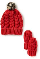 Starting Out Leopard Faux-Fur Pom Beanie Hat & Mittens Set