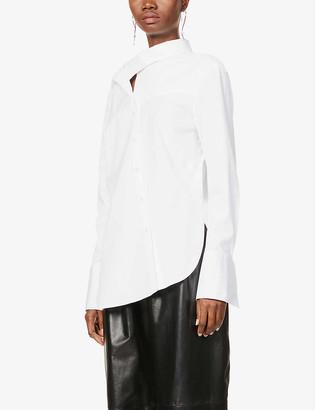 Monse Twist-scarf stretch-cotton poplin shirt