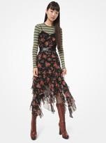 Michael Kors Floral Silk-Georgette Ruffle Slip Dress