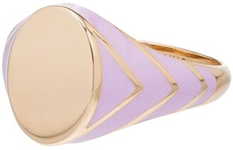 Alison Lou 14kt Yellow Gold Lilac Stripe Signet Ring