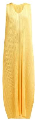 Pleats Please Issey Miyake Pleated Trapeze Cut V Neck Midi Dress - Womens - Yellow