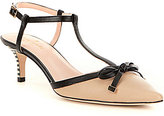 Kate Spade Pomona Pointed-Toe Bow T-Strap Pumps