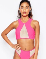Jaded London Pink Mesh Insert Bikini Top