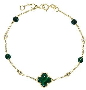 Bloomingdale's Malachite & Diamond Chain Bracelet in 14K Yellow Gold - 100% Exclusive