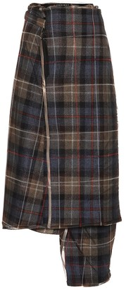 Y/Project Checked wool midi skirt