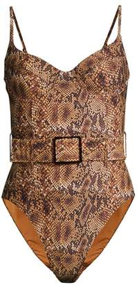 Weworewhat Danielle Snake-Print Belted One-Piece Swimsuit