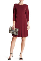 Bobeau 3/4 Sleeve Dress with Keyhole