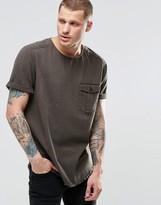 Asos Oversized Military Denim T-Shirt In Khaki