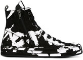 Ann Demeulemeester printed hi-top sneakers - men - Chamois Leather/Leather/rubber - 42