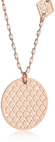 Rebecca Melrose Rose Gold Over Bronze Necklace w/Geometric Charms