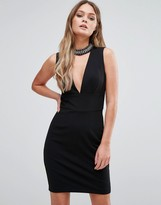 New Look Embellished Choker Plunge Dress