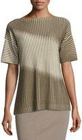 Lafayette 148 New York Half-Sleeve Bicolor Pleat-Stitch Sweater, Multi